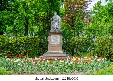 Schubert statue in Stadtpark in the city of Vienna, Austria