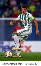 Schwab of Rap Wien in action during the Group G match of the UEFA Europa League between Villarreal CF and Rapid Wien at La Ceramica Stadium Villarreal, Spain on October 25, 2018.