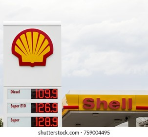 Schwabach, Germany - July 30, 2017: Royal Dutch Shell Plc or Shell is an Anglo-Dutch multinational oil and gas company. It is the fourth largest company in the world in term of revenue