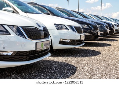 Schwabach, Germany, June 3,2018 - Skoda cars parked in front of car dealer. view of parked luxury cars in row.