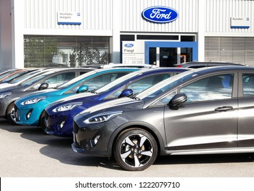 Schwabach, Germany May 212, 2018: A row of modern Ford's. Ford Dealer center