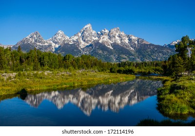 Schwabacher landing in early morning with its reflection. Grand Teton national park, WY