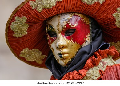 Schwabisch Hall, Germany - February 4, 2018: Portrait of an unidentified participant dressed up in venetian style renaissance costume and mask at the annual festival Hallia Venezia carnival event.