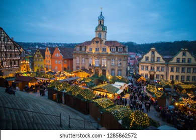 SCHWAEBISCH HALL, GERMANY - DECEMBER 15 2018: Christmas market in the market square.