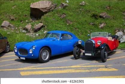 "SCHWAEGALP - JUNE 27: The Fiat racing car on the 7th International ""Oldtimer meeting"" in Schwaegalp, Switzerland on June 27, 2010"