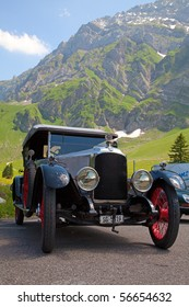 "SCHWAEGALP - JUNE 27: Oldtimer car on the 7th International ""Oldtimer meeting"" in Schwaegalp, Switzerland on June 27, 2010."