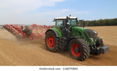 Schwandorf/Germany - 08.29.2018 - agricultural machinery - tractors, seeders, sprayers and cultivators work in the field