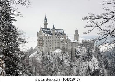 Schwangau, Bavaria, Germany - 24 February 2018 - Beautiful view of Neuschwanstein Castle in winter season