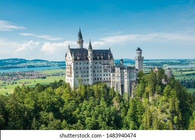 Schwangau, Bavaria, Germany - July 20, 2019; Neu Schwanstein the famous caslte of Ludwig II, which was the inspiration for Disney to build the Cinderella castle and is a popular tourist destination
