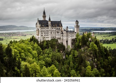 Schwangau, Bavaria, Germany - May 19th, 2013: Neuschwanstein Castle - the famous European castle built by King  Ludwig II of Bavaria