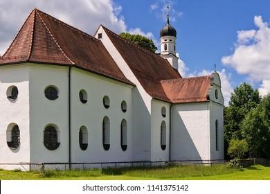 Schwangau, Germany June 10, 2018: Church St. Coloman, Bavaria, Germany