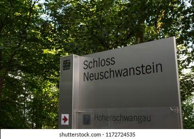 Schwangau, Germany, June 27 2018: Sign to Neuschwanstein Castle and parking