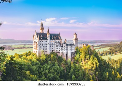 Schwangau, Germany - Oktober 13, 2018: The New Swanston Castle or  Neuschwanstein Castle is a 19th-century Romanesque Revival palace located in southwest Bavaria, Germany.