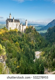 SCHWANGAU - OCTOBER 12 : Neuschwanstein castle located in Schwangau, Bavaria state, Germany, inspiration for Disneyland's sleeping beauty castle, located on Alpine foothills, on October 12, 2016.