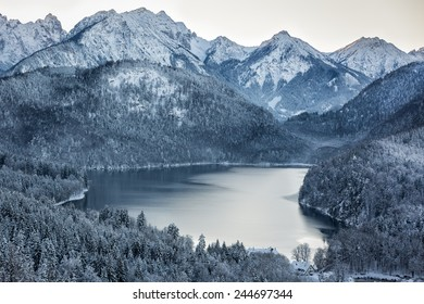 Schwansee at wintertime, Bavarian Alps, Germany