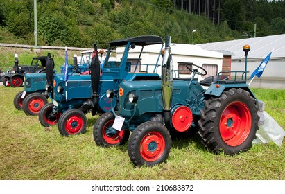SCHWARZENBERG - AUGUST 10: Tractor LANZ BULLDOG FESTIVAL by Schwoba Claus. Show of old agricultural machinery on August 10, 2014 in Schwarzenberg, Germany.