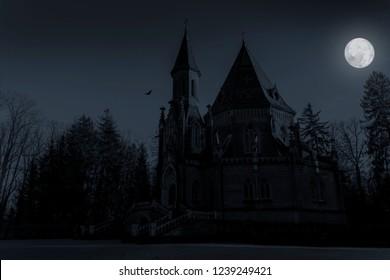 Schwarzenberg tomb in full moon night, Trebon. Czech republic.