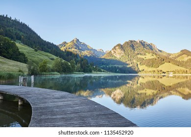 Schwarzsee lake in Switzerland, Sunrise