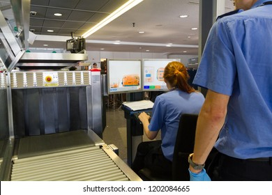 Schwechat, Austria. 2018/8/21. An airport security x-ray check at the Vienna (Schwechat) airport.