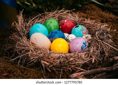 Fränkische Schweiz, Germany- March: Easternest  decorated  and handmade at easter 2017. Traditional german easter eggs outdoor decoration