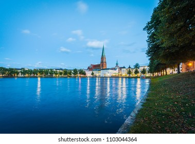 SCHWERIN, DE - SEPTEMBER 17, 2017: The Schwerin Cathedral (Schweriner Dom) is as old as the city itself, dedicated to the Virgin Mary and Saint John in Mecklenburg-Vorpommern state, Germany.