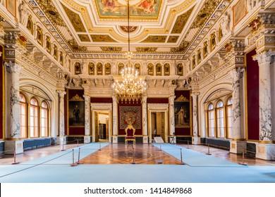 SCHWERIN, DE - SEPTEMBER 17, 2017: Schwerin Palace, or Schwerin Castle (Schweriner Schloss), located in the city of Schwerin, the capital of Mecklenburg-Vorpommern state, Germany