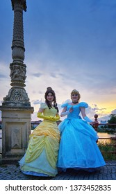 Schwerin, Germany - August 04, 2018: Anna and Elsa from the movie The Ice Princess on the Castle Bridge in Schwerin.