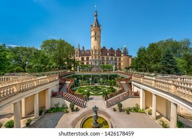 Schwerin, Germany - June 5, 2019: The Schwerin Castle (German: Schweriner Schloß), officially founded in 1160 with multiple restorations until 1857.