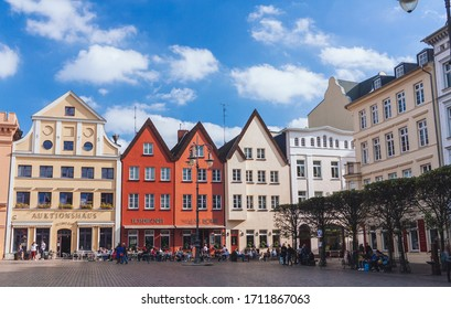 Schwerin / Germany - October 2018: Evening at the Old Town of Schwerin, capital of Mecklenburg-Vorpommern in northern Germany
