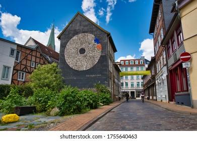 Schwerin, Mecklenburg-Vorpommern / Germany - June 6, 2020: Street in the historic Schelf area of Schwerin