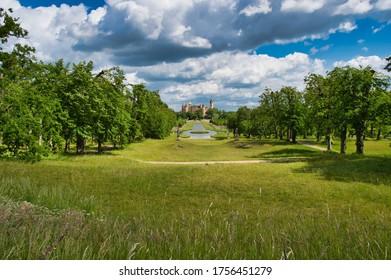 Schwerin, Mecklenburg-Vorpommern / Germany - June 6, 2020: Schwerin Castle (Schweriner Schloss) and Parliament of Mecklenburg-Vorpommern