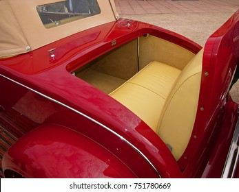 SCHWETZINGEN, GERMANY, SEPTEMBER 1, 2007. Detail of rear rumble seat of a Duesenberg J Murphy Convertible Coupe, built in USA in 1929, photographed at a car event in Germany