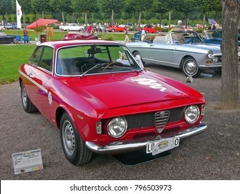 SCHWETZINGEN, GERMANY, SEPTEMBER 1, 2007. Classic car Alfa Romeo 1300 GTA, built in Italy in 1968, photographed at a car event in Germany