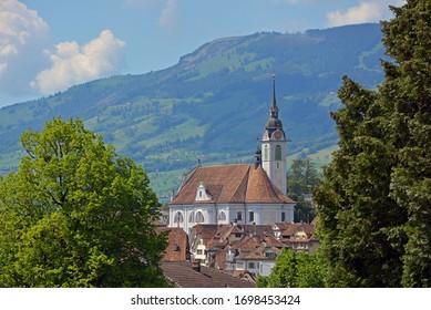 Schwyz, capital of canton of Schwyz, Switzerland. Baroque parish of St. Martin in the towncentre.
