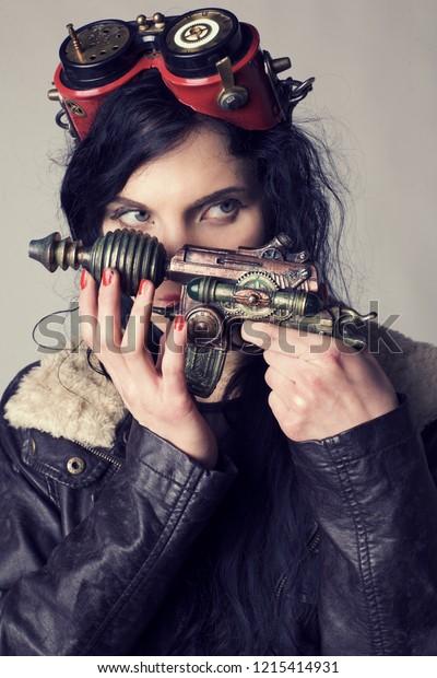 Sci Fi Dieselpunk Steampunk Girl Holding Stock Photo Edit