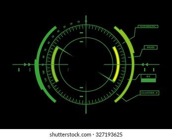 Sci fi futuristic user interface HUD. Raster version.