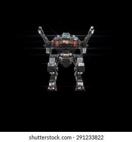 sci fi military robot neon light on white background
