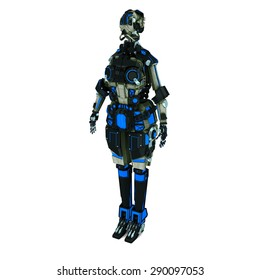 sci fi robot dark light on white background