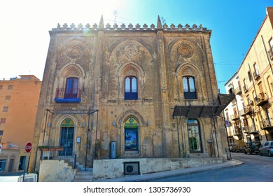 Sciacca, Agrigento, Sicily, Italy 26.08.2018. Cityscape with old historical buildings and facade of medieval house.