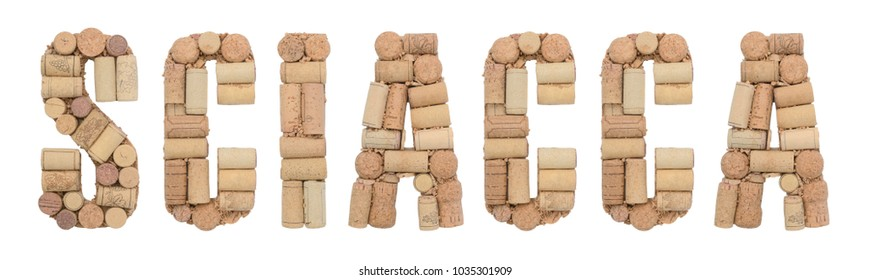 Sciacca made of wine corks Isolated on white background