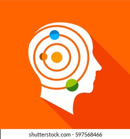 Science brain icon. Flat illustration of science brain  icon for web