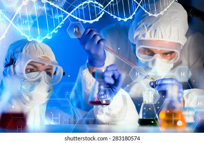 science, chemistry, biology, medicine and people concept - close up of scientists with pipette and flasks making test in clinical laboratory over hydrogen chemical formula and dna molecule structure