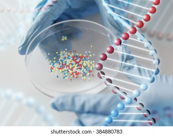 science, chemistry, biology, medicine and people concept - close up of scientist or doctor hands holding petri dish with chemical capsules chemical in laboratory and dna molecule structure