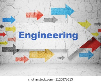 Science concept:  arrow with Engineering on grunge textured concrete wall background, 3D rendering