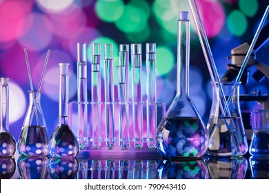 Science concept background. Laboratory glassware composition.