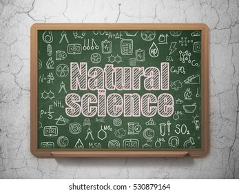 Science concept: Chalk Pink text Natural Science on School board background with  Hand Drawn Science Icons, 3D Rendering
