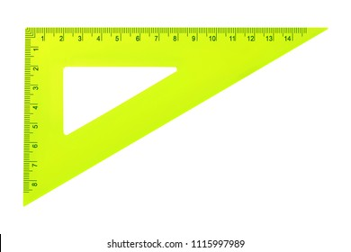 Science and education - Yellow set square triangle isolated on a white background.