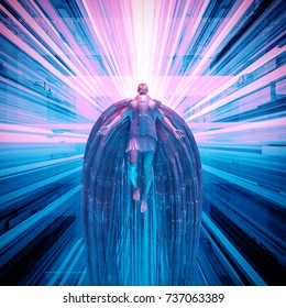 Science fiction angel / 3D illustration of futuristic angel floating in technological space