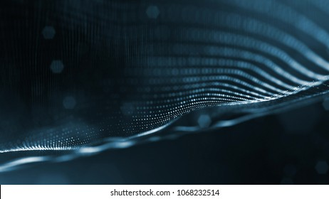 science fiction background of glowing particles with depth of field and bokeh. Particles form line and abstract surface grid. 3d rendering V15 dark background