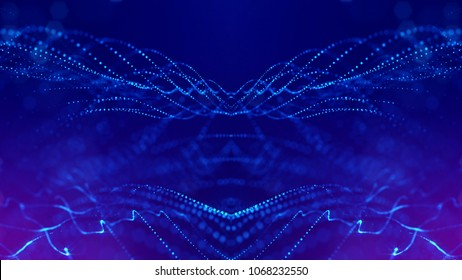 science fiction background of glowing particles with depth of field and bokeh. Particles form line and abstract surface grid. 3d rendering V31 blue